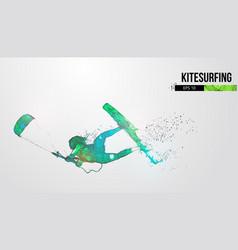 Silhouette a kitesurfer kitesurfing hydrofoil vector