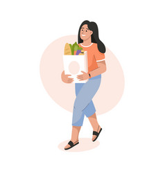 smiling woman holding paper bag with food products vector image