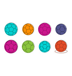 soccer ball icon set color outline style vector image