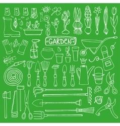 Spring garden doodle setToolsplantsGreen vector image