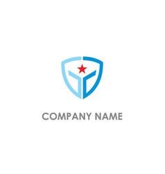 star shield protect logo vector image