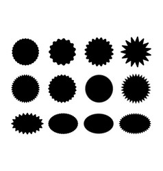 starburst black stickers set vector image