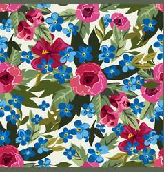 summer blossom flowers peonies seamless pattern vector image