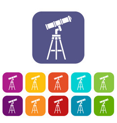 Telescope icons set vector