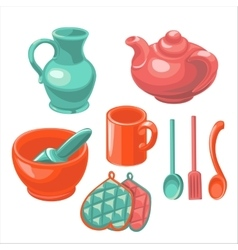 The dishes in the kitchen vector image
