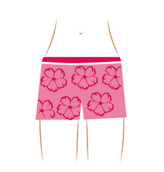 Thin contour of the waist woman in pink hawaiian vector