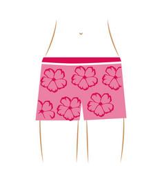 Thin contour of the waist woman in pink hawaiian vector