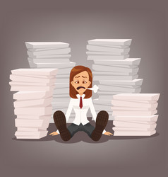 tired unhappy office worker woman character vector image