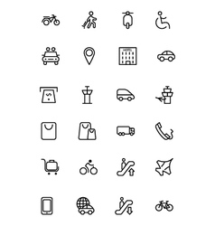 Travel line icons 4 vector
