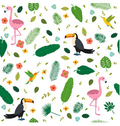 Tropical seamless pattern with pink flamingos vector