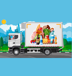 Truck car full food products vector
