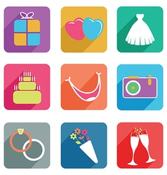 wedding flat icons vector image vector image
