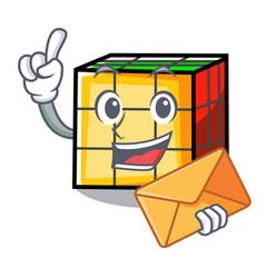 With envelope rubik cube character cartoon vector