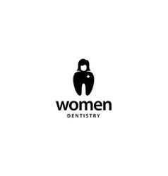 Woman dentistry logo design concept vector