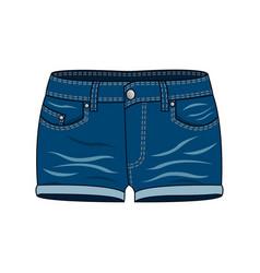womens clothing - blue denim shorts vector image
