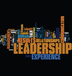 your experience the leadership talk great vector image