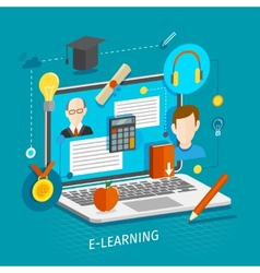 E-learning concept flat vector