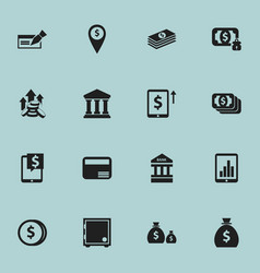 set of 16 editable finance icons includes symbols vector image