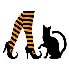witches feet in shoes and a black cat vector image vector image