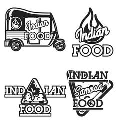 Color vintage indian food emblems vector