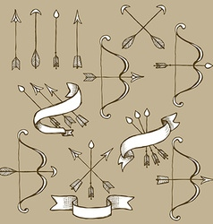 Sketch set of arrows vector image