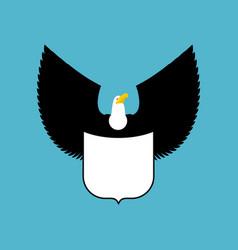 bald eagle and shield big strong bird emblem vector image