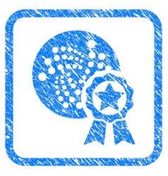 Iota star award framed stamp vector