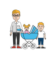 man with glasses and his baby and son icon vector image