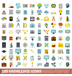 100 knowledge icons set flat style vector image