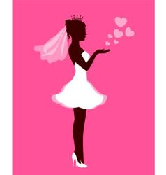 Bride with hearts on a pink background vector image
