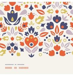 Ornamental folk tulips horizontal frame seamless vector image vector image
