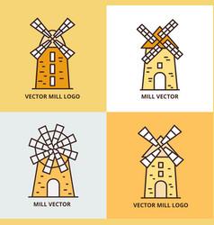 retro windmill logo set wheat bread mill vector image vector image