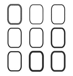 set of rectangular black monochrome rope vector image