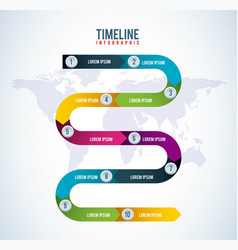 timeline infographic world report diagram business vector image