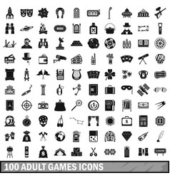 100 adult games icons set simple style vector image