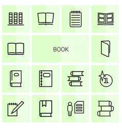 14 book icons vector