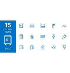 15 solid icons vector image