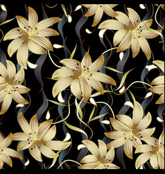 3d gold floral seamless pattern abstract floral vector image