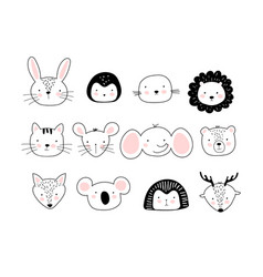A poster with portraits different cute animals vector