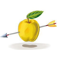 Apple hit by an arrow vector