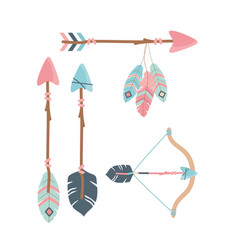 Arch with arrows and feathers decoration boho vector