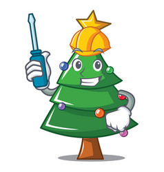 automotive christmas tree character cartoon vector image
