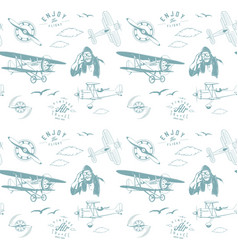 aviation pattern blue seamless monogram retro vector image
