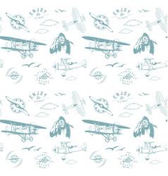aviation pattern blue seamless monogram retro vector image