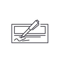 bank check line icon concept bank check vector image