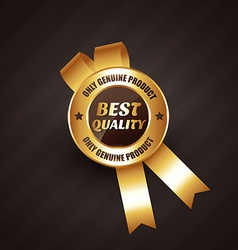 best quality golden rosette label badge design vector image