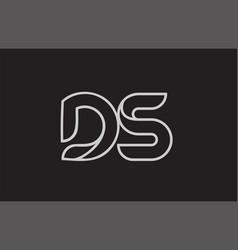 Black and white alphabet letter ds d s logo vector