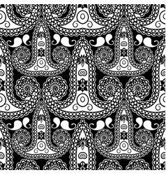 Black and white paisley seamless pattern vector