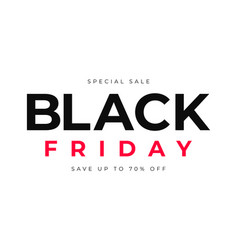 black friday sale red and white text on white vector image