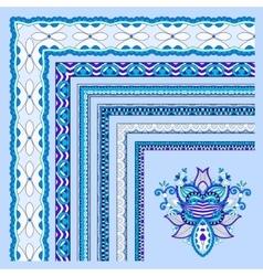 Blue floral vintage frame design vector